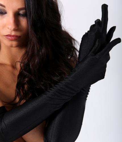 Перчатки атлас длин черн 42 см