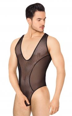 Боди из сетки мужское SoftLine Collection, чёрный, XL