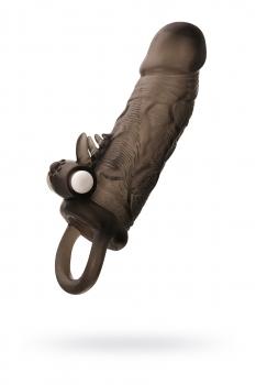 Насадка на пенис Toyfa XLover, с вибрацией, TPE, черная, 14,5 см