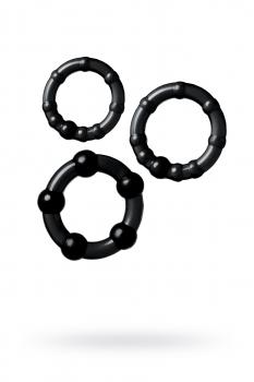 Набор из 3х колец Штучки-дрючки, силикон, чёрный, Ø 3,5/3/2 см