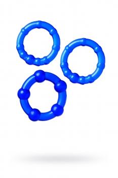 Набор из 3х колец Штучки-дрючки, силикон, синий, Ø 3,5/3/2 см