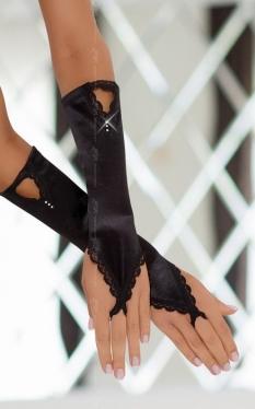 Перчатки атласные короткие SoftLine Collection, черный, S/L