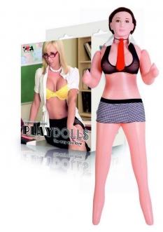Кукла надувная с реалистичной головой. Шатенка. Вставка вагина – анус. 2 отверстия. Костюм училки